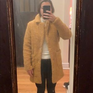 ASOS mustard teddy coat